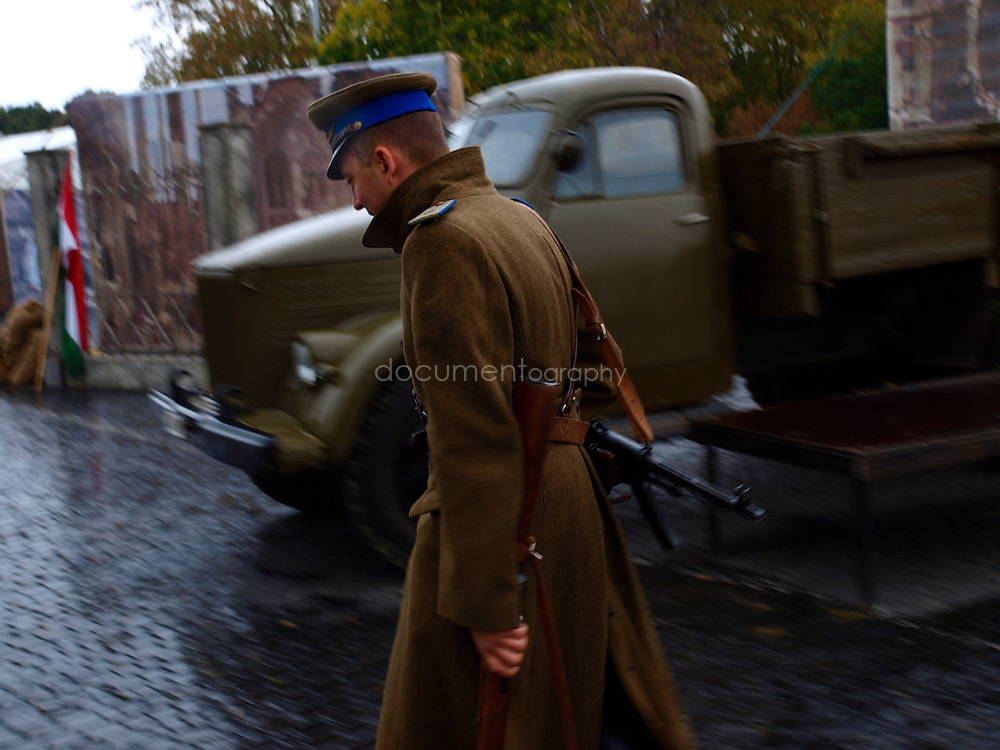 A man dressed as a soldier during the commemoration of the 1956 revolution, Budapest, Hungary.