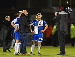Bristol Rovers' man of the match Stuart Sinclair is interviewed after 3-2 win against Gateshead - Photo mandatory by-line: Paul Knight/JMP - Mobile: 07966 386802 - 19/12/2014 - SPORT - Football - Bristol - The Memorial Stadium - Bristol Rovers v Gateshead - Vanarama Conference
