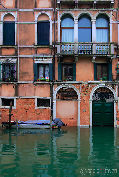 The facade of  a palace  on Rio della Sensa, a canal in the Sestiere of Cannaregio in Venice, Italy