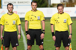 Referees Dovydas Suziedelis, Andreas Ekberg and Mehmet Culum during football game between Slovenia and Andorra of<br /> UEFA Under19 Championship Qualifications, on October 15, 2013 in Bakovci, Slovenia. (Photo by Erik Kavas / Sportida)