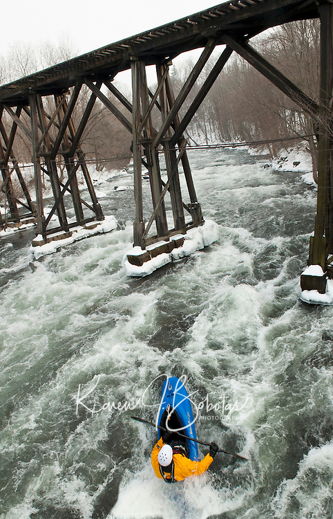 New Year's Day kayak under the Franklin Trestle.  Karen Bobotas Photographer