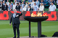 The Remembrance Day fire is lit at the Hyundai A-League Round 4 soccer match between Melbourne Victory and Central Coast Mariners at AAMI Park in Melbourne.
