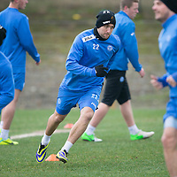 St Johnstone Training....31.01.14<br /> Lee Croft pictured during training this morning ahead of tomorrow's League Cup Final against Aberdeen.<br /> Picture by Graeme Hart.<br /> Copyright Perthshire Picture Agency<br /> Tel: 01738 623350  Mobile: 07990 594431