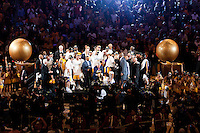 17 June 2010:  Commissioner Davis stern picks up the Larry O'Brien trophy as the Los Angeles Lakers celebrate after the Lakers defeat the Boston Celtics 83-79 and win the NBA championship in Game 7 of the NBA Finals at the STAPLES Center in Los Angeles, CA.