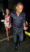 13.AUGUST.2009 - LONDON<br /> <br /> TOTTENHAM AND ENGLAND STRIKER JERMAINE DEFOE LEAVING NOBU RESTAURANT, BERKLEY SQUARE WITH HIS GIRLFRIEND IMOGEN THOMAS THE NIGHT AFTER SCORING TWO GOALS FOR ENGLAND AGAINST HOLLAND.<br /> <br /> BYLINE MUST READ : EDBIMAGEARCHIVE.COM<br /> <br /> *THIS IMAGE IS STRICTLY FOR UK NEWSPAPERS & MAGAZINES ONLY*<br /> *FOR WORLDWIDE SALES & WEB USE PLEASE CONTACT EDBIMAGEARCHIVE - 0208 954-5968*