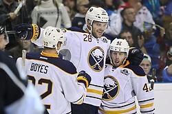 08.10.2011, o2-World Berlin, GER, NHL, Buffalo Sabres vs Los Angeles Kings im Bild Paul Gaustad (Buffalo Sabres #28) jubelt nach dem 3:0 Tor  // during the game  Buffalo Sabres vs Los Angeles Kings on 2011/10/08, o2-World Berlin, Germany. EXPA Pictures © 2011, PhotoCredit: EXPA/ nph/  Hammes       ****** out of GER / CRO  / BEL ******