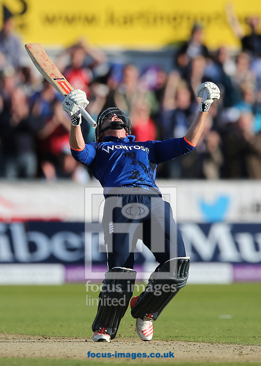 Jonny Bairstow of England celebrates scoring the winning runs  during the Royal London One Day Series match at Emirates Durham ICG, Chester-le-Street<br /> Picture by Simon Moore/Focus Images Ltd 07807 671782<br /> 20/06/2015