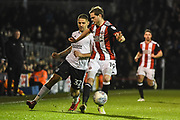 Fulham Forward Aleksandar Mitrovic (32) and Sheffield United Defender Richard Stearman (19) in action during the EFL Sky Bet Championship match between Fulham and Sheffield United at Craven Cottage, London, England on 6 March 2018. Picture by Stephen Wright.