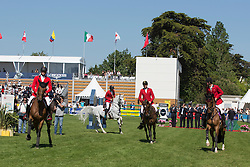 Team Belgium <br /> François Mathy junior, Gregory Wathelet, Jos Verlooy, Olivier Philippaerts and chef d'equipe Kurt Gravemeier<br /> Furusiyya FEI Nations Cup presented by Longines<br /> Longines Jumping International La Baule 2014<br /> © Hippo Foto - Dirk Caremans