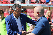 Swindon Manager   Phil Brown and Accrington Stanley  manager John Coleman shake hands during the EFL Sky Bet League 2 match between Swindon Town and Accrington Stanley at the County Ground, Swindon, England on 5 May 2018. Picture by Gary Learmonth.