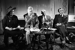 (From l-r) Muriel Lady Dowding, author Richard Adams, Lord Houghton of Sowerby and Clive Hollands, Secretary of the Scottish Anti-Vivisection Society. Watership Down author Richard Adams today resigned as president of the RSPCA minutes before the council met to vote on a motion calling for his dismissal. The other people in this picture, active vice-presidents also resigned.
