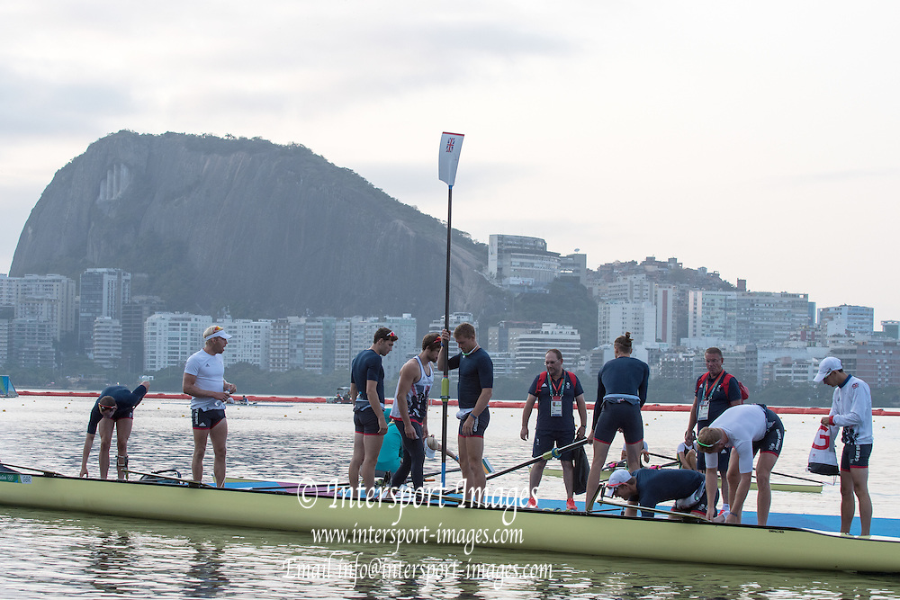 Rio de Janeiro. BRAZIL  GBR M8+, boating for training session. ,  Boating  General view of the boat park.  2016 Olympic Rowing Regatta. Lagoa Stadium,<br /> Copacabana,  &ldquo;Olympic Summer Games&rdquo;<br /> Rodrigo de Freitas Lagoon, Lagoa. Local Time 07:02:03  Tuesday  09/08/2016<br /> [Mandatory Credit; Peter SPURRIER/Intersport Images]