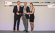 Twickenham, Great Britain, &quot;British Olympic Association Trophy&quot; left Alex GREGORY, Guest of Honour, Sir Steven REDGRAVE, and Heather STANNING, at the  GBRowing Team Party, Rose Room , RFU Stadium, Twickenham, ENGLAND. Friday. 20.11.2015.<br /> [Mandatory Credit; Peter Spurrier/Intersport-images]