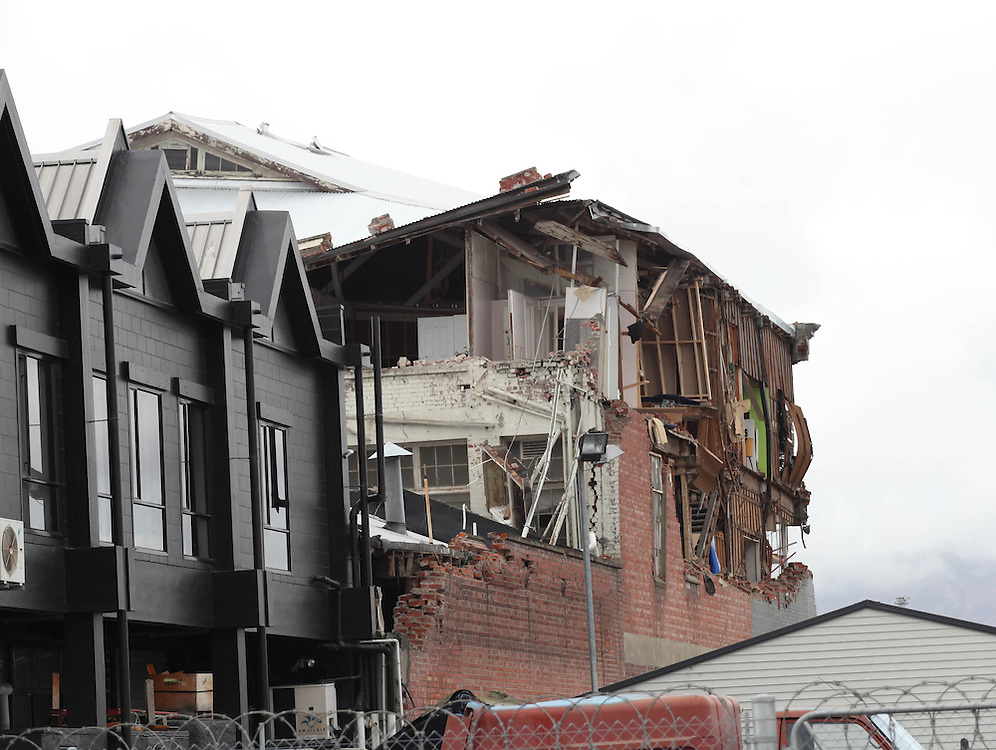 Damaged building from Cashel Street, after Tuesday's 6.3 earthquake, Christchurch, New Zealand, Wednesday, February 23, 2011. Credit:SNPA/Pam Johnson