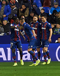 January 10, 2019 - Valencia, Valencia, Spain - Levante UD players celebrates a goal during the Spanish Copa del Rey match between Levante and Barcelona at Ciutat de Valencia Stadium on Jenuary 10, 2019 in Valencia, Spain. (Credit Image: © Maria Jose Segovia/NurPhoto via ZUMA Press)