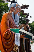 Statue of Confucius near the entrance of Thean Hou Temple in Kuala Lumpur.