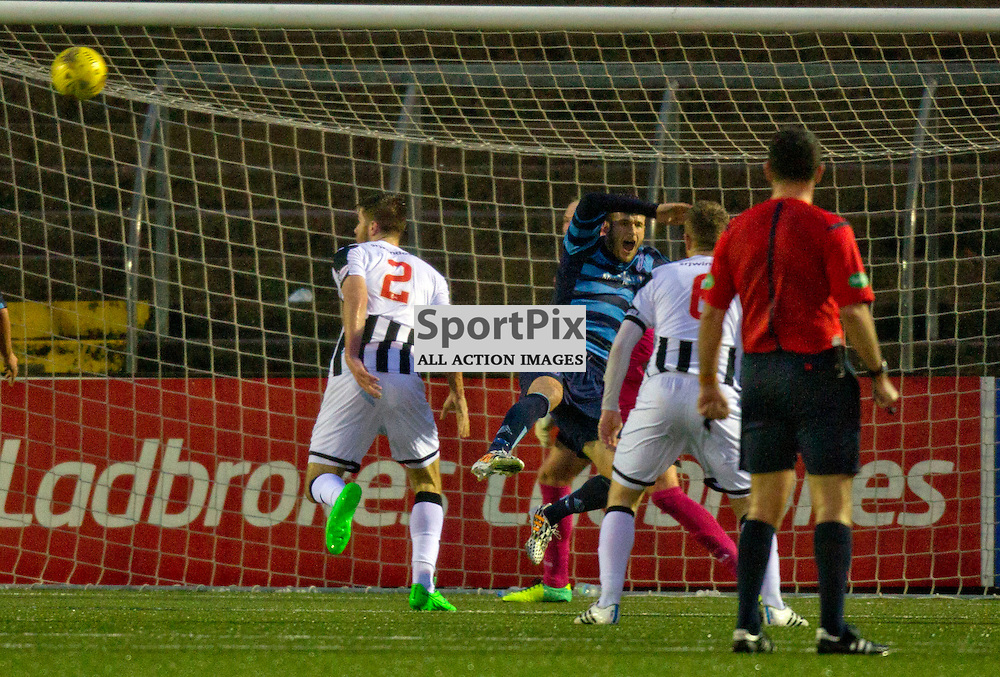 Forfar Athletic v Dunfermline Athletic SPFL League One Season 2015/16 Station Park 26 December 2015<br /> Sean Rooney (2) concedes a penalty<br /> CRAIG BROWN | sportPix.org.uk