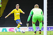 Leeds United Midfielder Ezgjan Alioski (10) is through to Southend United Goalkeeper Mark Oxley (1) during the Pre-Season Friendly match between Southend United and Leeds United at Roots Hall, Southend, England on 22 July 2018. Picture by Stephen Wright.
