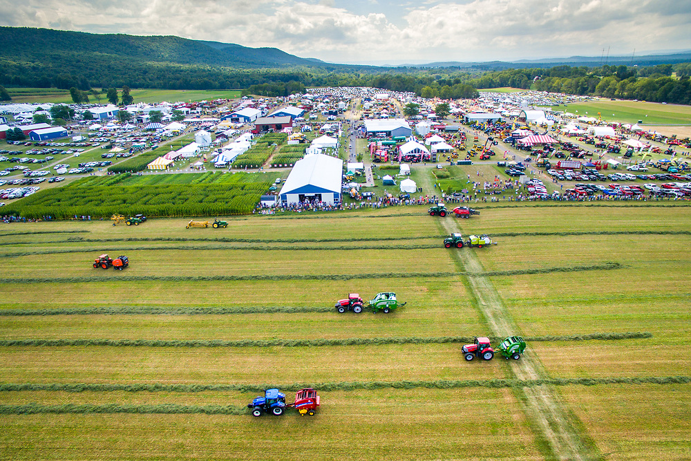 Aerial view of a Tractor Show at Ag Progress Day 2015 in State College, Pennsylvania.