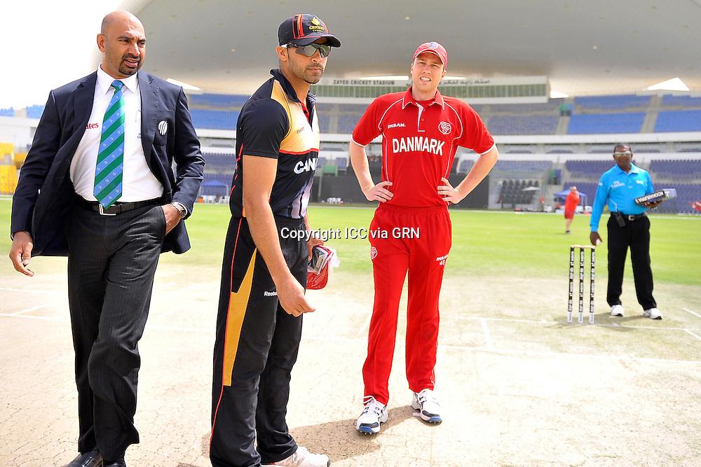 Canada's Captain Rizwan Cheema and Denmark's Captain Michael Pedersen at the coin toss at the ICC World Twenty20 Qualifier UAE 2012. Pix ICC/Thusith Wijedoru