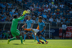 September 23, 2017 - East Hartford, Connecticut, U.S - New York City FC goalkeeper SEAN JOHNSON (1) catches a cross while New York City FC defender ALEXANDER CALLENS (6) and New York City FC defender BEN SWEAT (2) support in defense during a game at Pratt & Whitney Stadium at Rentschler Field, East Hartford, CT.  New York City FC draw with the Houston Dynamo 1 to 1 (Credit Image: © Mark Smith via ZUMA Wire)