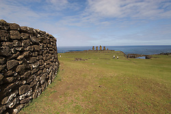 Chile, Easter Island: Wide angle view of historic village called Ahu Tahai, near Hanga Roa..Photo #: ch234-33598..Photo copyright Lee Foster www.fostertravel.com lee@fostertravel.com 510-549-2202