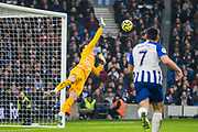 Kepa Arrizabalaga (Chelsea) in action during the Premier League match between Brighton and Hove Albion and Chelsea at the American Express Community Stadium, Brighton and Hove, England on 1 January 2020.
