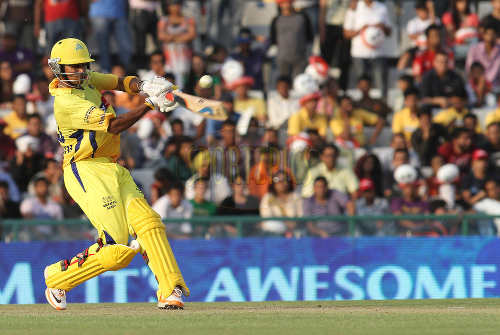 Suraj Randiv of the Chennai Super Kings pulls a delivery for six during match 9 of the Indian Premier League ( IPL ) Season 4 between the Kings XI Punjab and the Chennai Super Kings held at the PCA stadium in Mohali, Chandigarh, India on the 13th April 2011..Photo by Shaun Roy/BCCI/SPORTZPICS