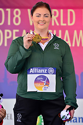 Orla Barry, IRE receiving her Gold Medal in the F57 Discus at Berlin 2018 World Para Athletics European Championships