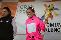 Belle de Gast (NED) of Parkhotel Valkenburg - Destil Cycling Team celebrates retaining the best sprinter's nuclear pink jersey after Stage 2 of the Setmana Ciclista Valenciana - a 115 km road race, between Castello and Vila-Real on February 23, 2018, in Valencia, Spain. (Photo by Balint Hamvas/Velofocus.com)