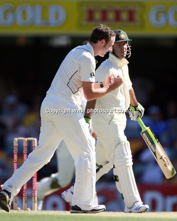Ricky Ponting is dismissed off the bowling of Iain O'Brien during day 2 of the first test match between Australia and New Zealand at the Gabba. Brisbane, Australia. Friday 21 November 2008. Pic: Andrew Cornaga/PHOTOSPORT