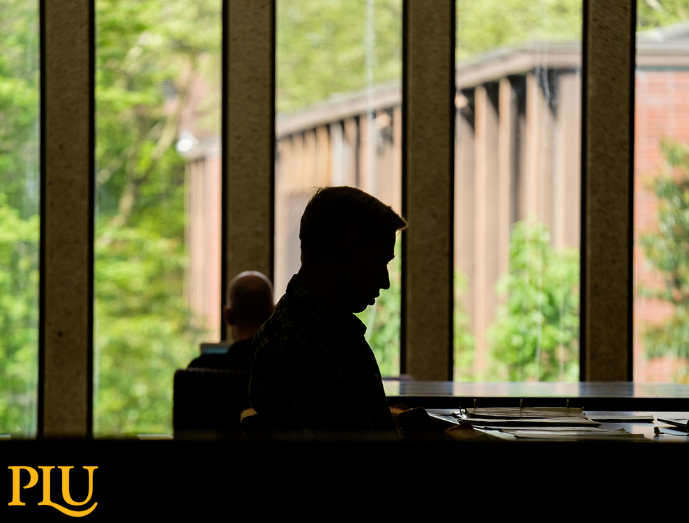 Studying in the library nearing the end of the semester at PLU, Tuesday, May 16, 2017. (Photo: John Froschauer/PLU)