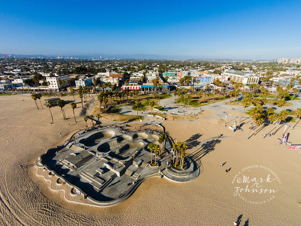 Aerial photograph of Venice Beach skateboard park and boardwalk, Los Angeles, California, USA