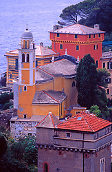 View of San Giorgio church over looking Ligurian Sea, Portofino, Italy