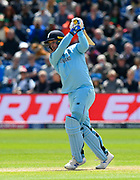 Jason Roy of England plays an attacking shot during the ICC Cricket World Cup 2019 match between England and Bangladesh the Cardiff Wales Stadium at Sophia Gardens, Cardiff, Wales on 8 June 2019.