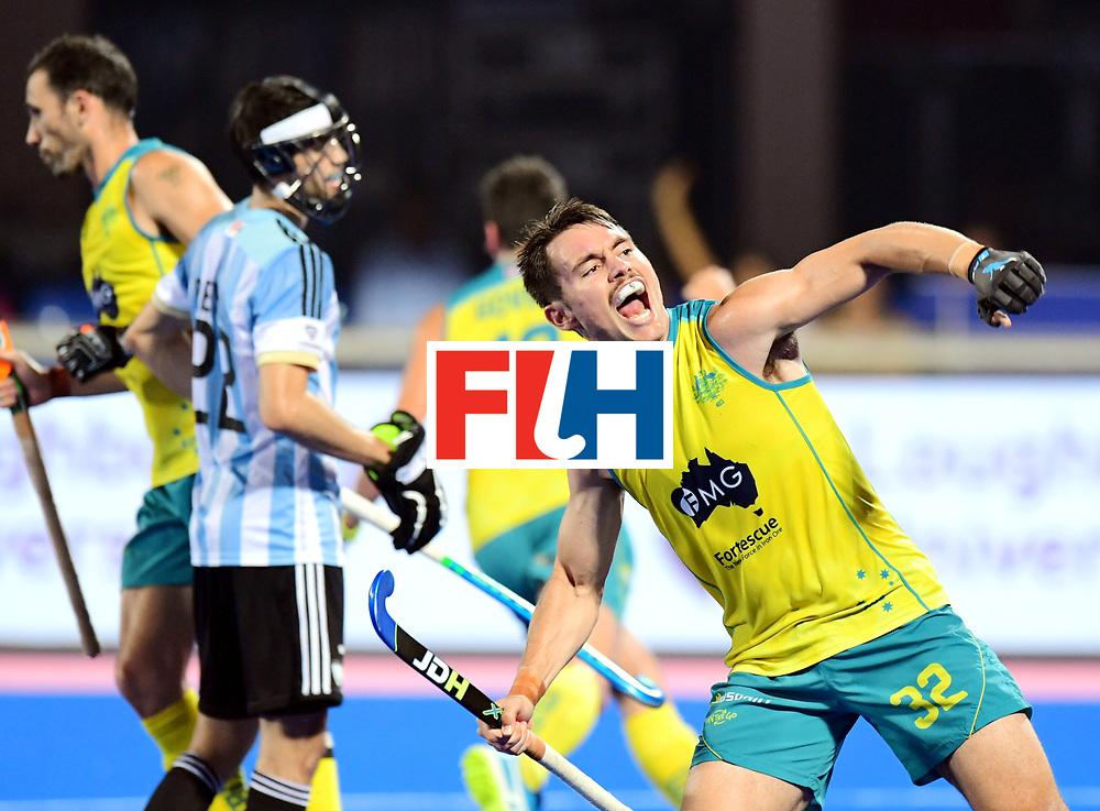 Odisha Men's Hockey World League Final Bhubaneswar 2017<br /> Match id:22<br /> Argentina v Australia Final<br /> Foto: Blake Govers (Aus) scored 1-2<br /> Jeremy Hayward (Aus) <br /> COPYRIGHT WORLDSPORTPICS FRANK UIJLENBROEK