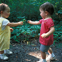 Toddlers playing near Meadow Pond on land recently protected by TPL.  Stephenson's Way.  Groveland, MA