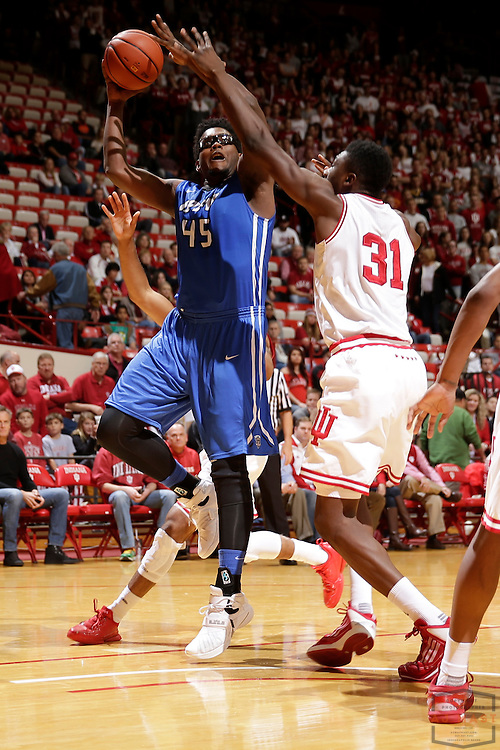 IPFW forward Brent Calhoun (45) in action as IPFW played Indiana in an NCCA college basketball game in Bloomington, Ind., Wednesday, Dec. 9, 2015. (AJ Mast)