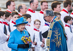 © Licensed to London News Pictures. 14/03/2016. London, UK. HRH QUEEN ELIZABETH II  leaves Westminster Abbey in London agree attending a service to mark Commonwealth Day 2016.  Photo credit: Ben Cawthra/LNP