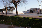 Tunis, Tunisia. January 28th 2011.The police send tear gas to the population....