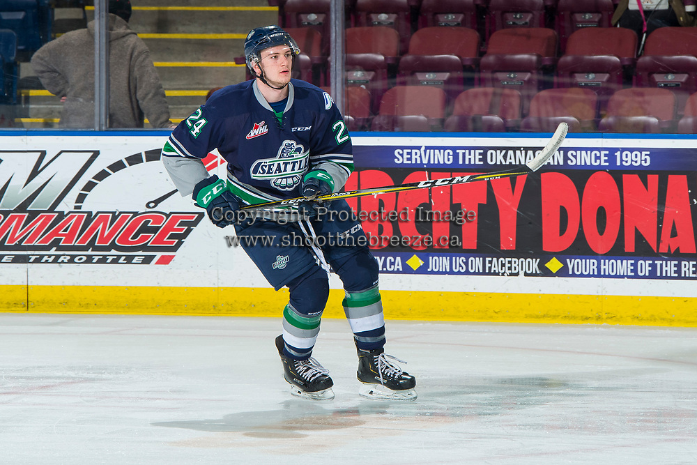 KELOWNA, BC - JANUARY 30: Jake Lee #24 of the Seattle Thunderbirds skates against the Kelowna Rockets at Prospera Place on January 30, 2019 in Kelowna, Canada. (Photo by Marissa Baecker/Getty Images)