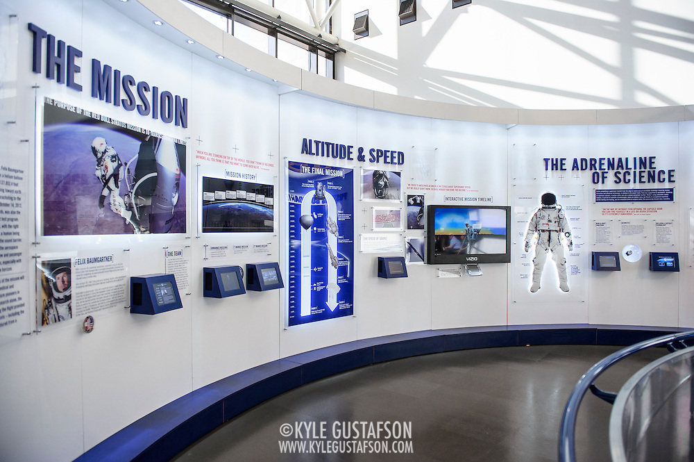 Information and interactive displays pertaining to the Red Bull Stratos project, on display at The Smithsonian National Air and Space Museum in Washington, D.C., USA on 1 April, 2014.