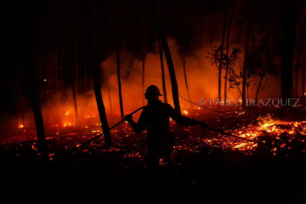 LEIRIA, PORTUGAL - JUNE 19:  A firefighter from the National Republican Guard GIPS works on a fire in the forest after a wildfire took dozens of lives on June 19, 2017 near Pedrogao Grande, in Leiria district, Portugal. On Saturday night, a forest fire became uncontrollable in the Leiria district, killing at least 62 people and leaving many injured. Some of the victims died inside their cars as they tried to flee the area.  (Photo by Pablo Blazquez Dominguez/Getty Images)