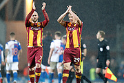 Bradford City midfielder Nicky Law (7) and Bradford City defender Anthony McMahon (29) during the EFL Sky Bet League 1 match between Blackburn Rovers and Bradford City at Ewood Park, Blackburn, England on 29 March 2018. Picture by Craig Galloway.