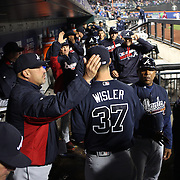 NEW YORK, NEW YORK - MAY 03:  Pitcher Matt Wisler #37 of the Atlanta Braves is congratulated by manager Fredi González as he returns to the dugout after the eighth inning during the Atlanta Braves Vs New York Mets MLB regular season game at Citi Field on May 03, 2016 in New York City. (Photo by Tim Clayton/Corbis via Getty Images)