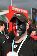 An Atlanta Falcons fan sports red, white, and black face paint as he poses for a photograph before the Atlanta Falcons Super Bowl LI football game against the New England Patriots on Sunday, Feb. 5, 2017 in Houston. The Patriots won the game 34-28 in overtime. (©Paul Anthony Spinelli)