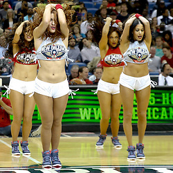 Oct 23, 2013; New Orleans, LA, USA; The New Orleans Pelicans dance team performs during the first half of a preseason game against the Miami Heat at New Orleans Arena. Mandatory Credit: Derick E. Hingle-USA TODAY Sports