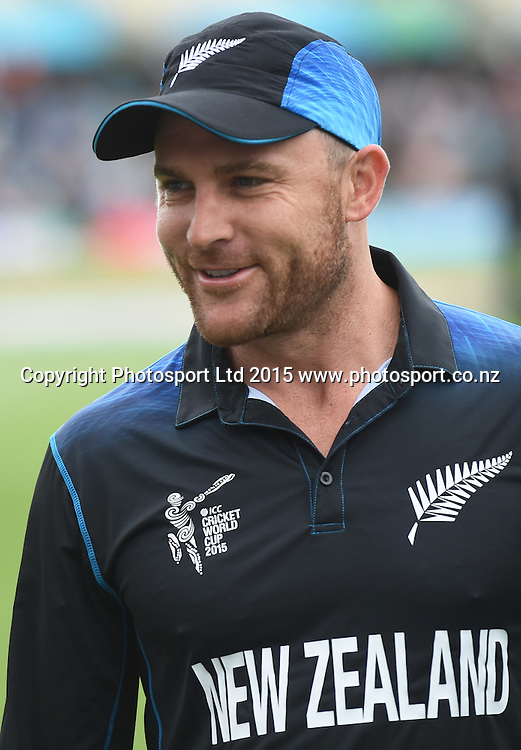 Brendon McCullum during the ICC Cricket World Cup match between New Zealand and Sri Lanka at Hagley Oval in Christchurch, New Zealand. Saturday 14 February 2015. Copyright Photo: Andrew Cornaga / www.Photosport.co.nz