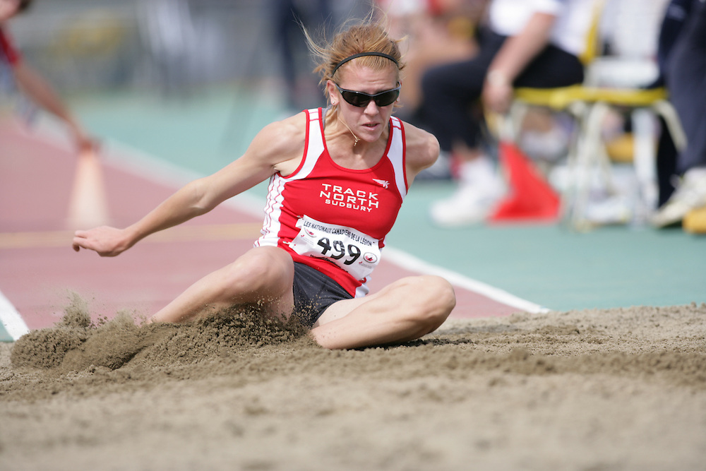 (Sherbrooke, Quebec -- 9 Aug 2009)  Caroline Ehrhardt of Track North Athletic Club competes in triple jump at the 2009 Legion Youth National Track and Field Championships. Photograph copyright Sean Burges / Mundo Sport Images  2009.