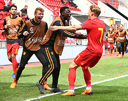May 17, 2018 - United Kingdom - Yorbe Vartessen of Belgium Under 17 \celebrates scoring his sides first goal .during the UEFA Under-17 Championship Semi-Final match between Italy U17s against Belgium U17s at New York Stadium, Rotherham United FC, England on 17 May 2018. (Credit Image: © Kieran Galvin/NurPhoto via ZUMA Press)